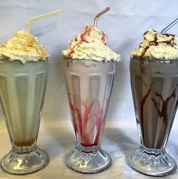 Milkshakes, hot and cold drinks