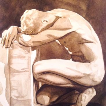 "This is a watercolor, ""Nude in Sepia"" 2001. I used only 1 tube of paint in creating this (Sepia)."