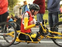 Tim on his custom handcycle