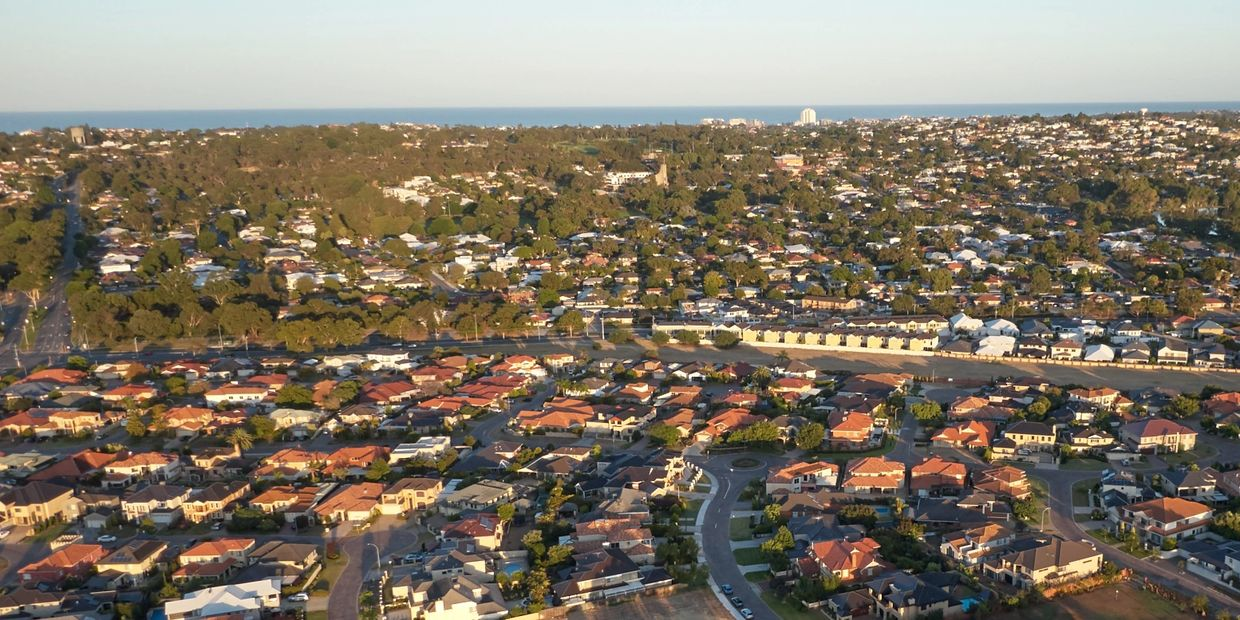 Real Estate aerial drone photo of suburb location