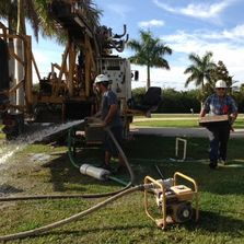 Pumping out a Deep Well and measuring gallons per minute in Palm Bay and Melbourne Florida