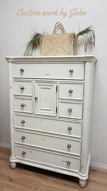 After photo of tallboy refinished using General Finishes Antique White!