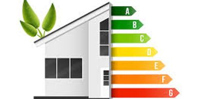 Home energy graph with green shoots growing from roof