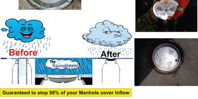 Rainstoppers Manhole Inserts- RMIs-are made to order to fit sewer manholes,any size any shape any configuration