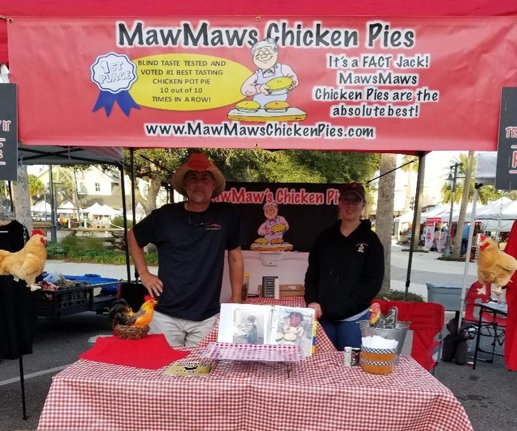 Get your MawMaw's Chicken Pie at the Brownwood Farmers Market in The Villages, Florida on Saturday