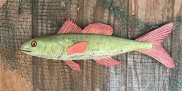 Whimsical colorful fish.  All cypress with an antiqued painted finish.