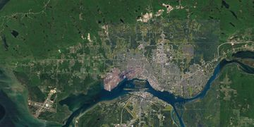 Satellite view of all of Sault Ste. Marie. Click to visit our maps page.