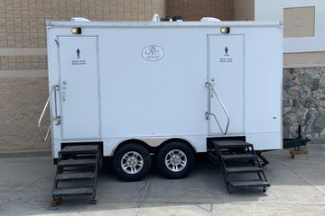 5 stall portable bathroom trailer at business remodel in Centerville, Utah