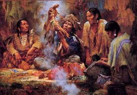 """Opening the Sacred Bundle"" Oil Painting by Howard Terpning."