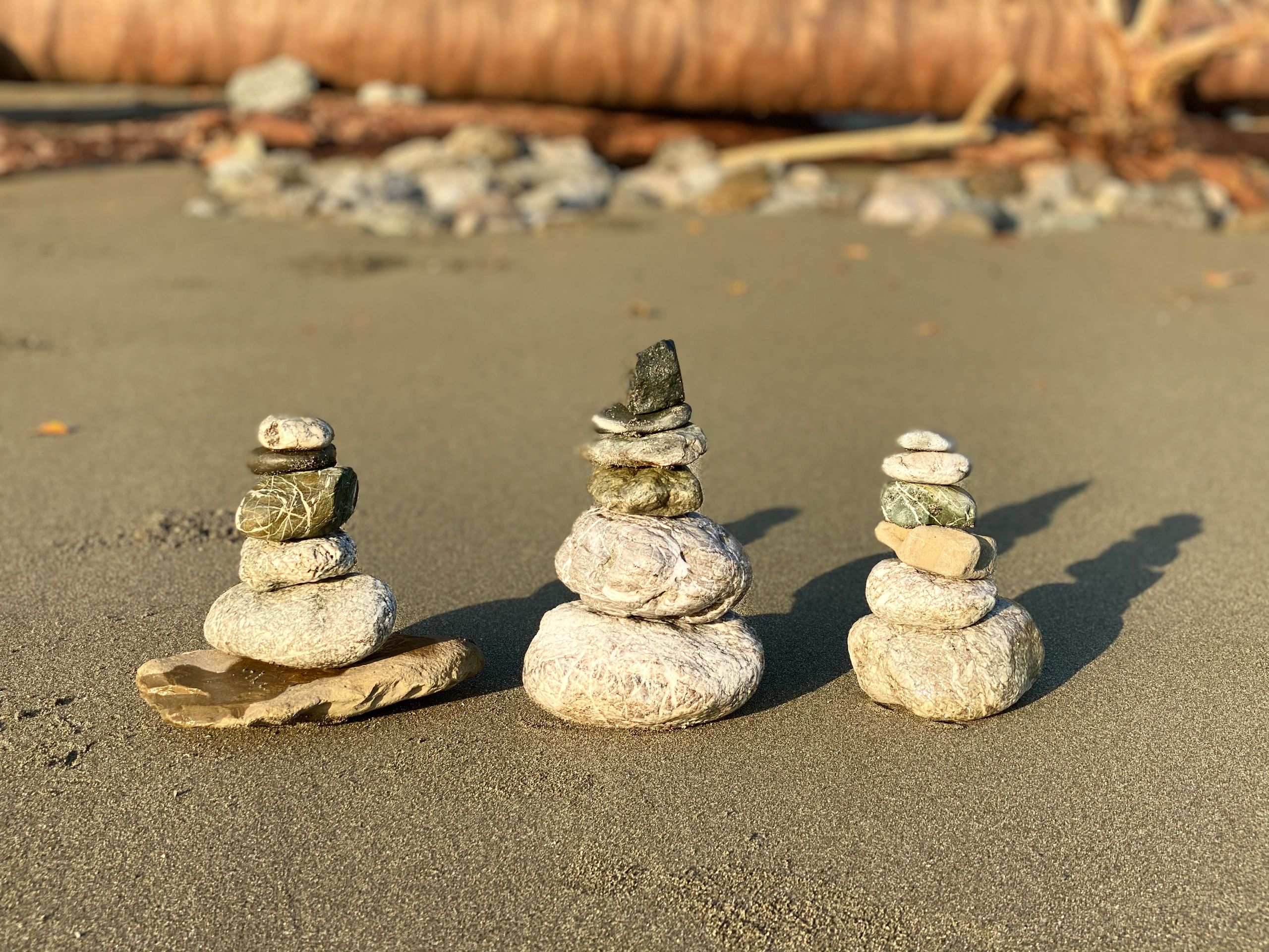 I built these cairns on morning walking meditation in Costa Rica in Feb of 2020 on a yoga retreat.