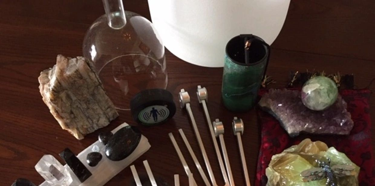 Tools for Biofield Tuning, deliberate frequency forks, crystals, crystal bowls and intuition