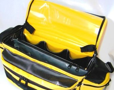 RBM Lockable Electrical Bag opened and showing zippered divider and slots for tools