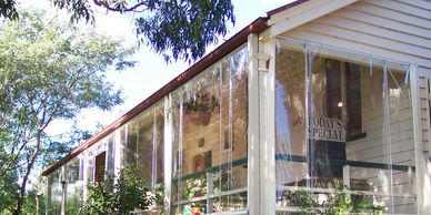 Clear PVC Cord and Pulley Blinds for verandah pergola or outdoor area