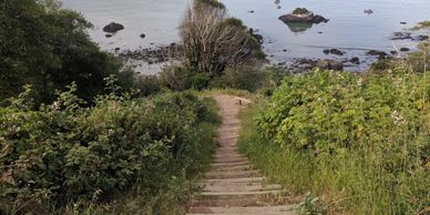 Stairs leading down to the water at this memorial site in Trinidad, CA.  Photo by Fiesta in r Siesta