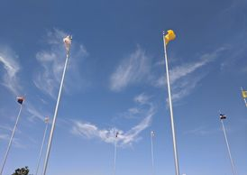 The flags at Four Corners. Photo by Fiesta in r Siesta RV