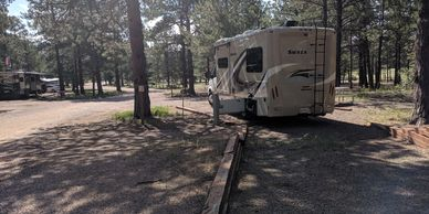 Campsite at Peregrine Pines FamCamp in Colorado Springs, CO. Photo by Fiesta in r Siesta