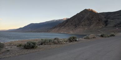 View of Walker Lake, NV and hwy 95 South. Boondocking. Photo by Debi from FiestainrSiestaRV.com