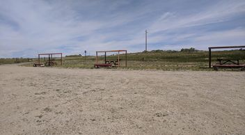 5 picnic tables and shelters and Ray Lake, Wyoming.  Photo by Debi from Fiesta in r Siesta RV