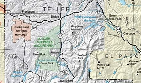 Pikes Peak area of Teller County and Fremont County Colorado