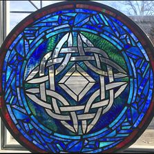 celtic knot welsh irish stained glass north carolina leaded window