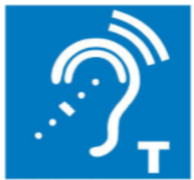 The logo used to indicate T-coil hearing loop is available.