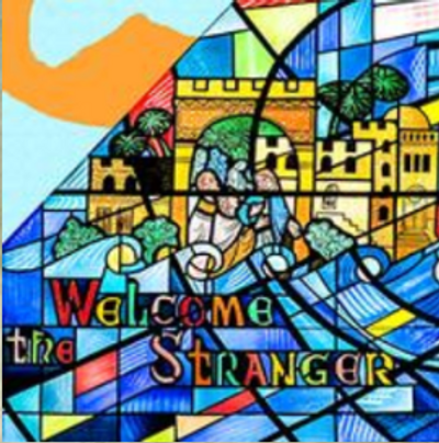 "Stained-glass from our Welcome Center with the words ""Welcome the Stranger"""