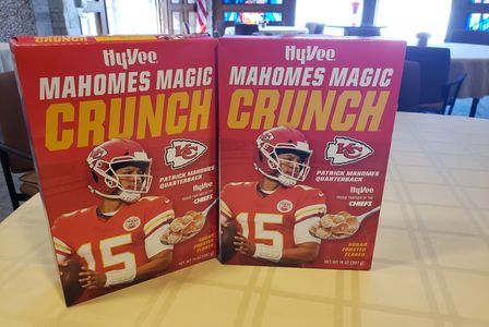 2 boxes of Mahomes Magic Crunch cereal in honor of the Kansas City Chiefs football quarterback.