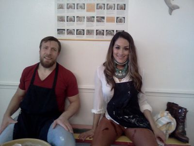 Wrestling champion Daniel Bryant takes Nikki Bella to a pottery on the wheel class at The Ceramic Garden.