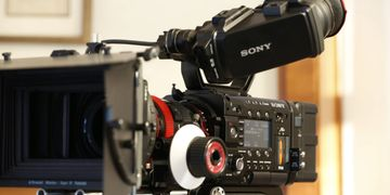 Reinsel Video Sony F5 camera rigged in production mode with mattebox.