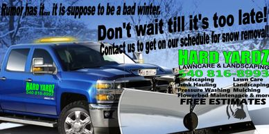 hard yardz snow removal snow plowing salt shoveling snow prices cost cheap Winchester stephens city