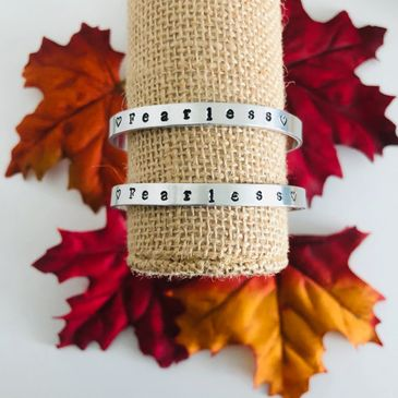 Aluminum Fearless bracelets cuff style
