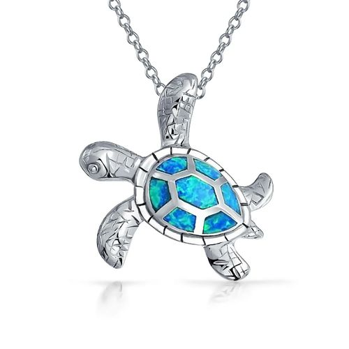 Sterling Silver and Opal Turtle Pendant