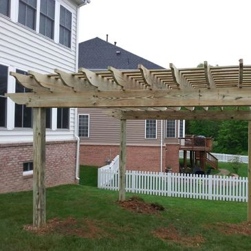 treated wood pergola