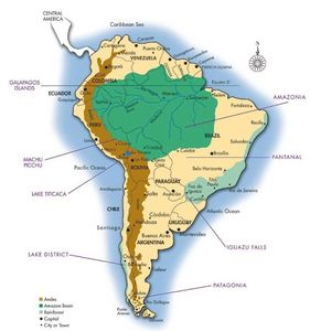 The extent of the Amazon Rainforests of South America