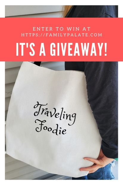 giveaway, tote bag canvas, traveling foodie tote bag, best gifts for foodies 2019