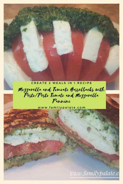Tomato and Mozzerala, pesto and tomato, hasselback revipes, panini recipes, mozzrella panini