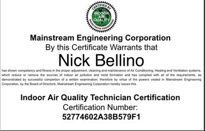 Indoor Air Quality Technician Certification
