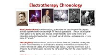 A chronology overview of  Electrotherapy.