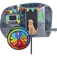 Retro Trailer Wind Spinner with Puppy Dog | Recreational Vehicle Wind Spinners | Camping Decorations