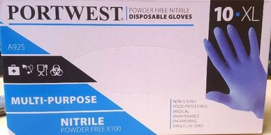 Portwest A925  Powder free gloves nitrile gloves cheap gloves Portwest A925 workwear shop in Alnwick