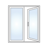2 panel XO French door graphic with one panel opening.