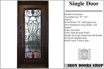 Wrought iron entry front  single door , doors with iron works, doors with forged iron