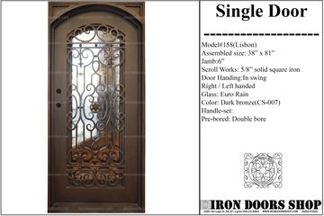 Wrought iron entry front  eyebrow arch top single door , doors with iron works, forged iron doors