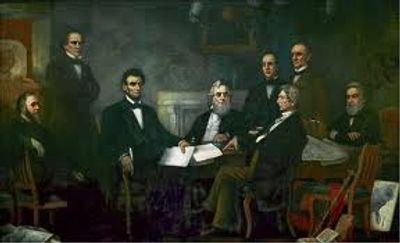 Original painting by F.B. Carpenter, 1864. Hangs in the Senate wing in the  US Capital.
