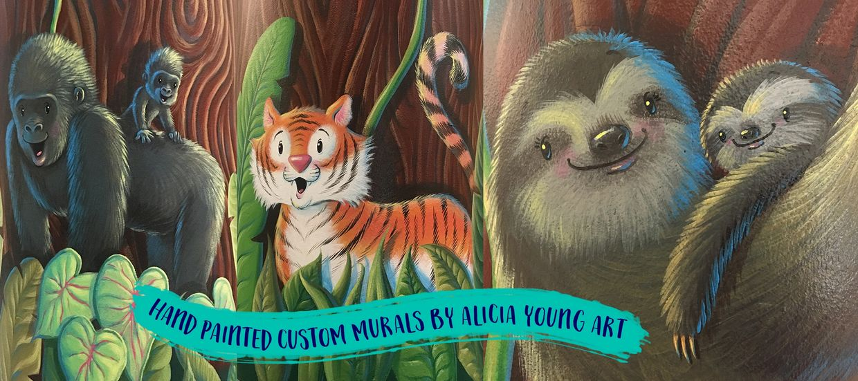 These cute animals are all part of a jungle tree mural at a Children's & Women's Hospital!