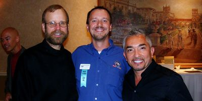 With Brother Christopher Savage, of the Monks of New Skeete, and the Dog Whisperer Cesar Milan.