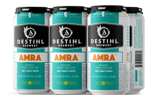 An image of DESTIHL Brewery's Amra® Mango IPA cans in a retail 6-pack.