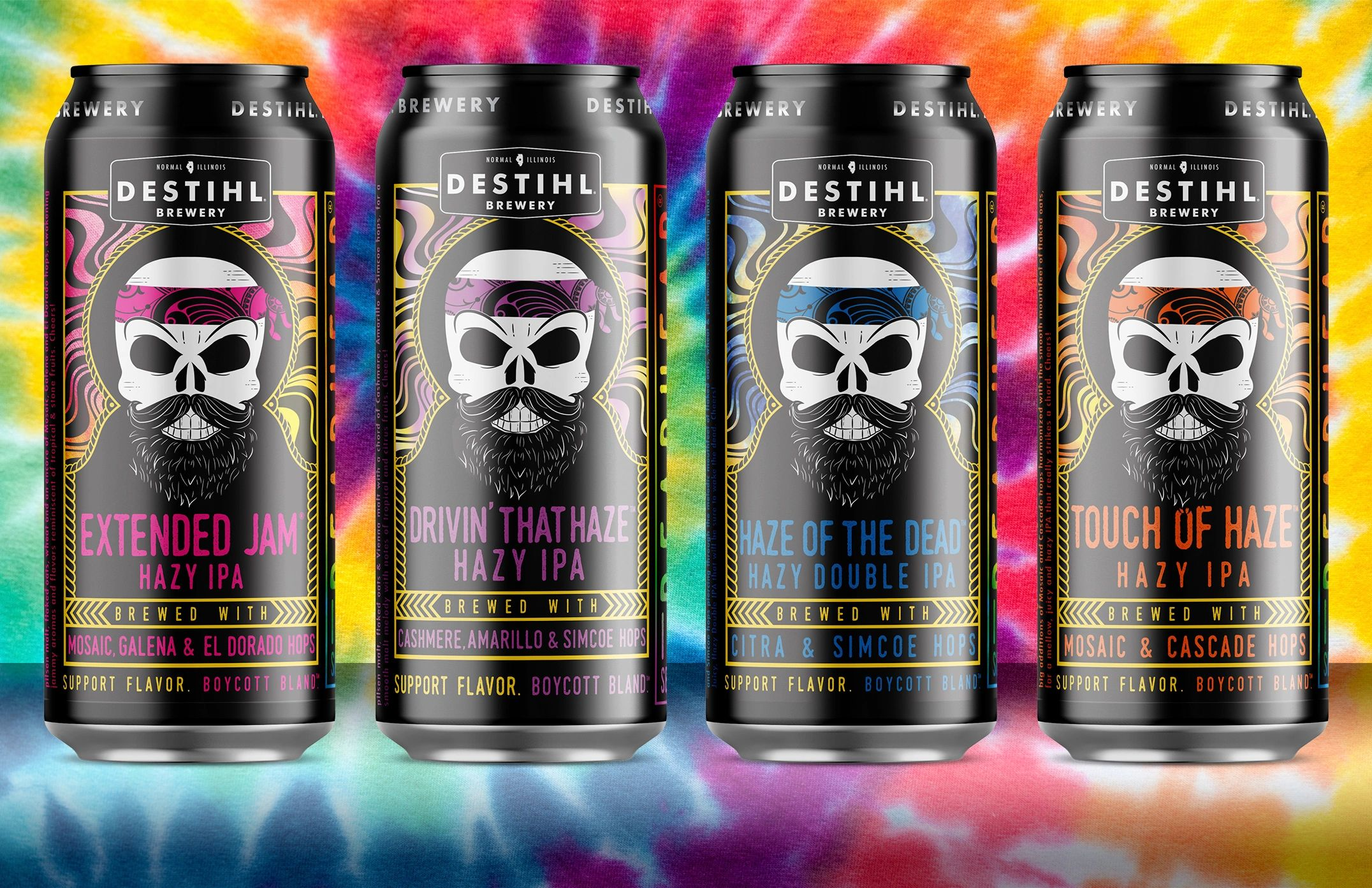 An image of DESTIHL Brewery's DeadHead® IPA Series cans over a tie-dye background.