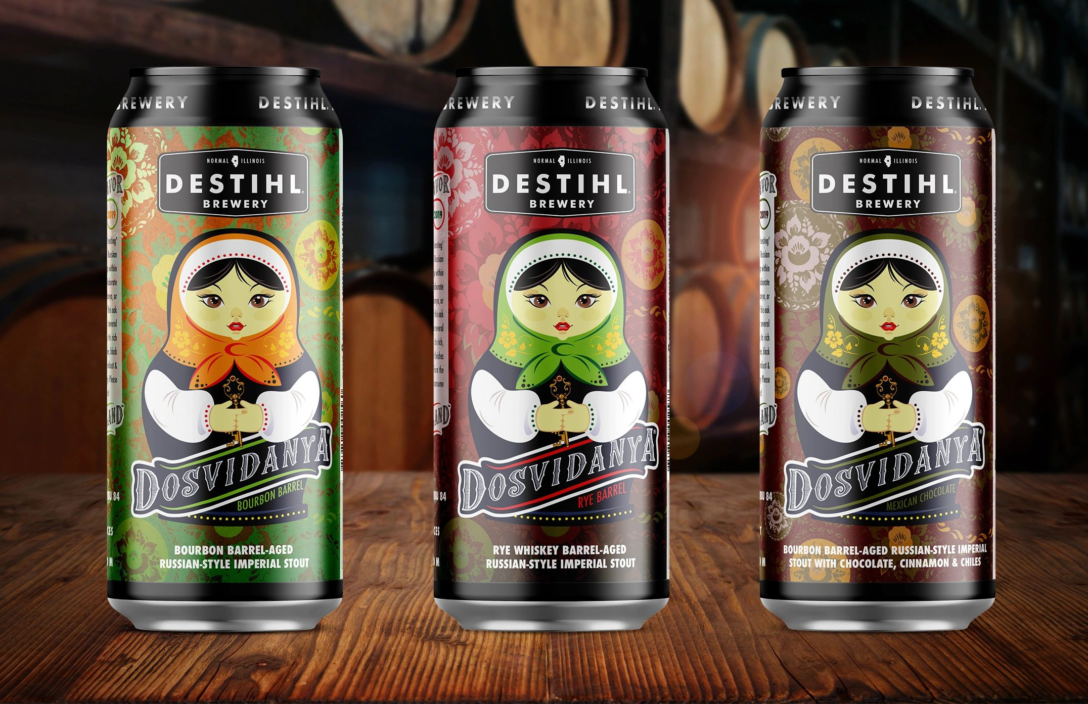 An image of DESTIHL Brewery's Dosvidanya® Russian Imperial Stout cans lined up in front of a backgro