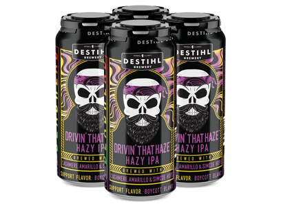 An image of DESTIHL Brewery's Drivin' That Haze Hazy IPA cans in a retail pack.